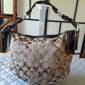 Coach Signature C brown on brown  canvas hobo